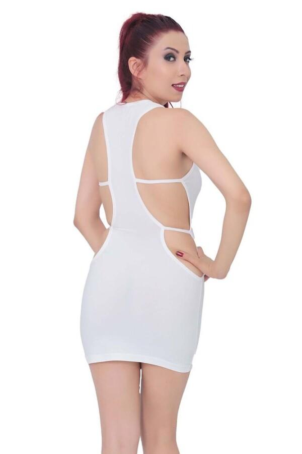 kadin bel dekolteli super mini elbise 323 10 B