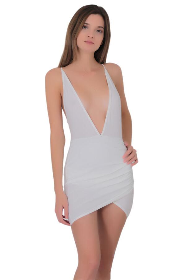 kadin derin dekolteli super mini elbise 330 10 B