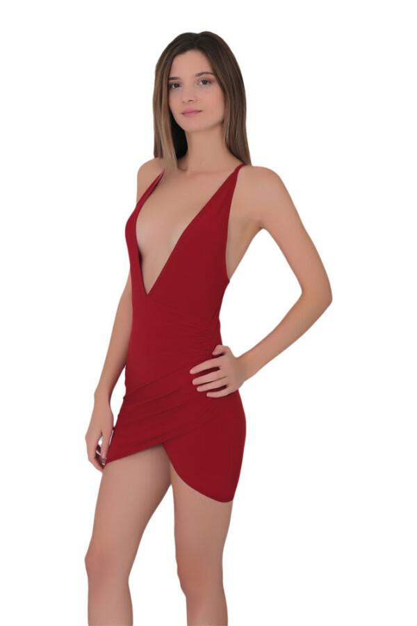 kadin derin dekolteli super mini elbise 338 10 B
